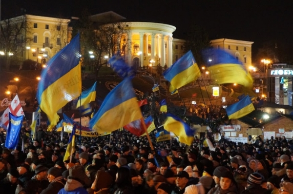 People gathered at Kiev's Maidan (source: kresy24.pl)